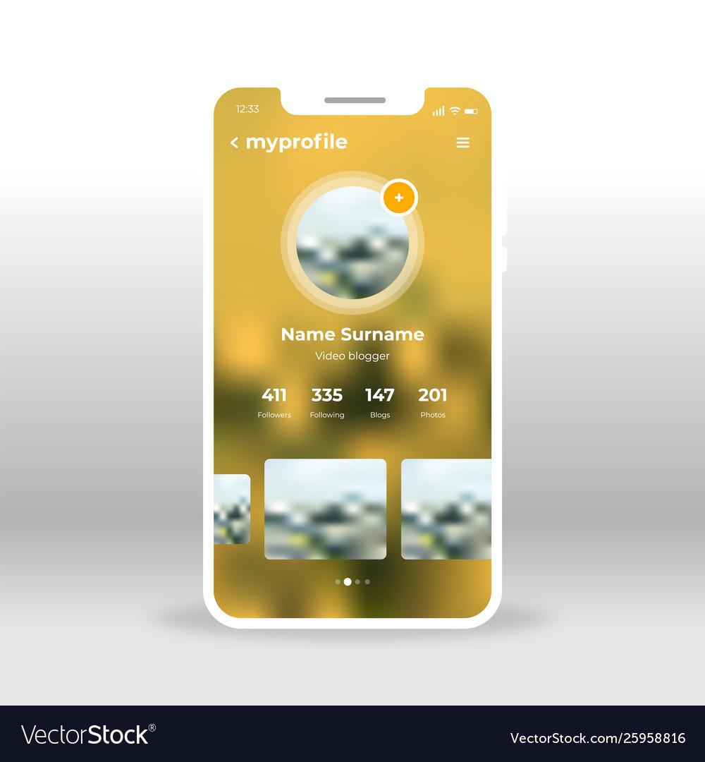 Yellow my profile account ui ux gui screen for