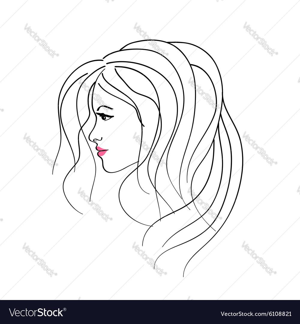 art sketching girl profile face symbols royalty free vector