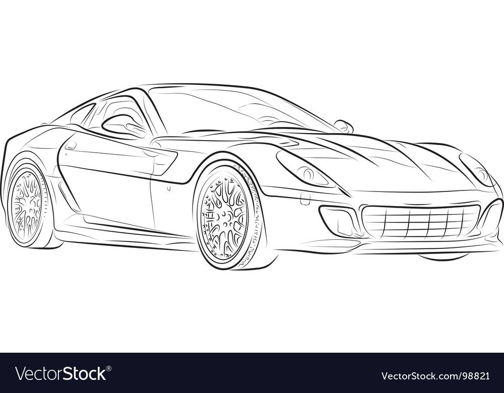 Car sketch Royalty Free Vector Image - VectorStock