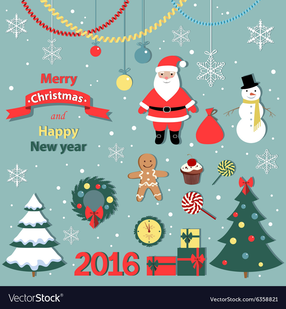 Christmas and new year set -decorative elements vector image
