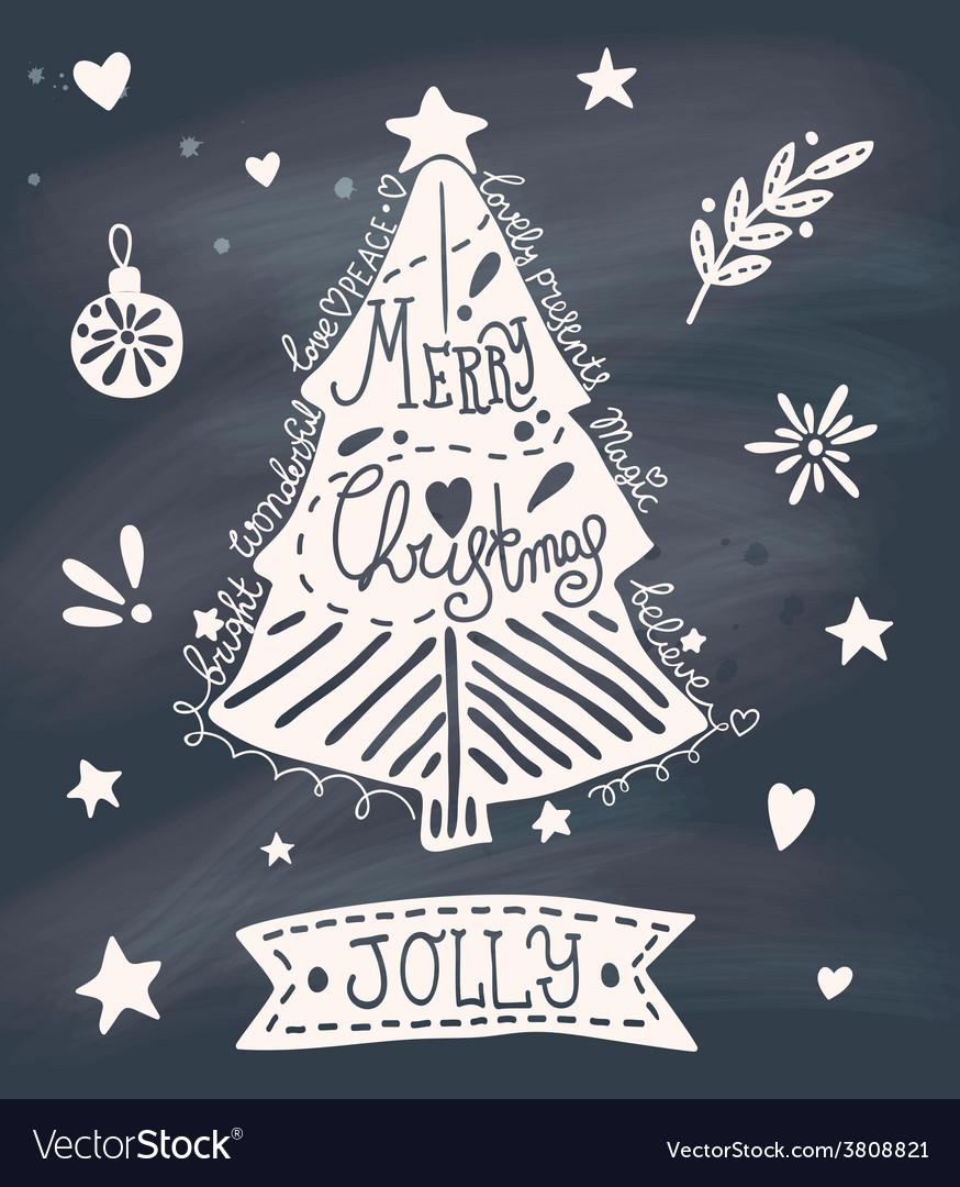 Christmas greeting card with sketchy Christmas