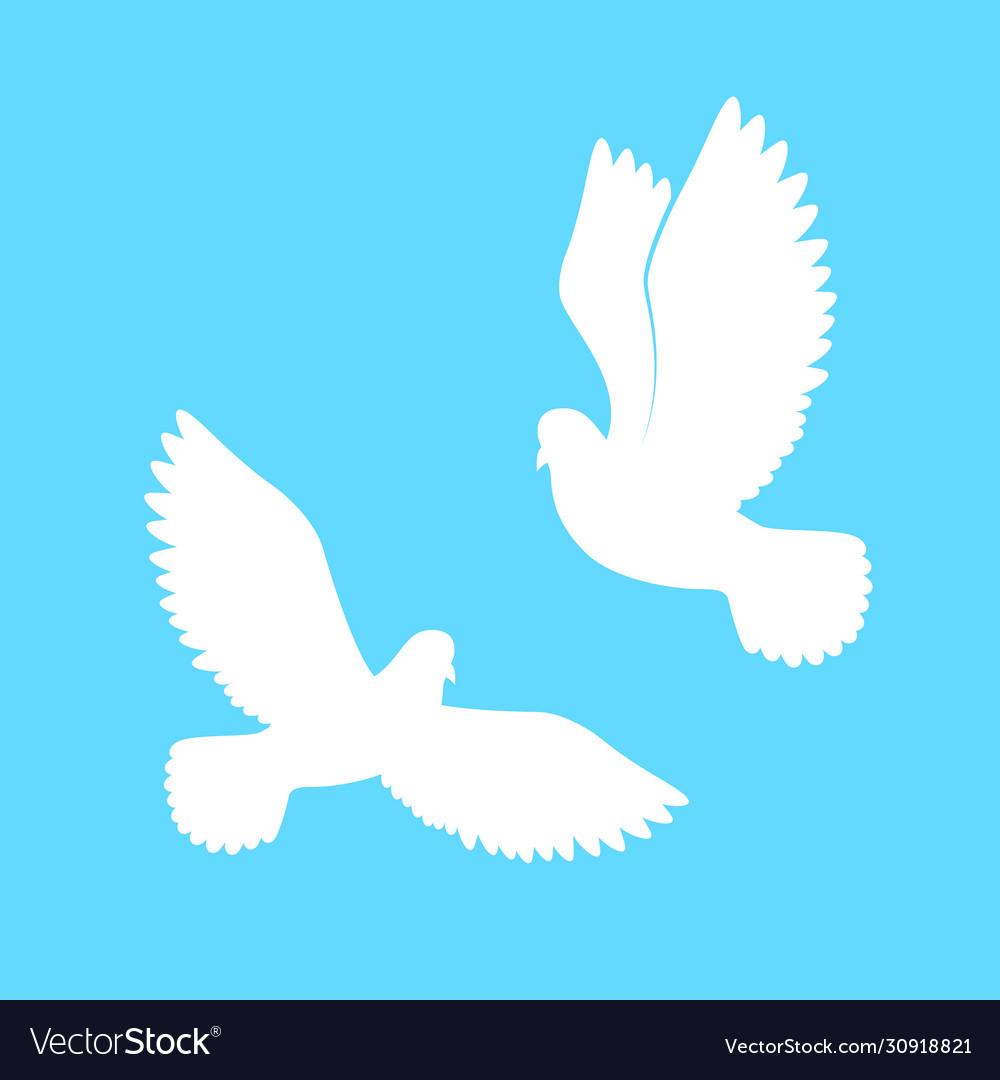 Couple dove paper pigeons silhouette white