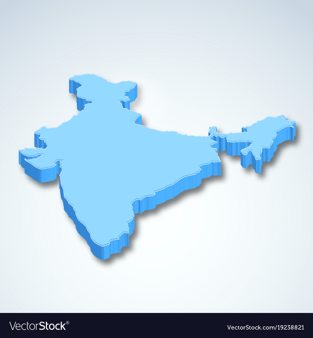 3D Map Of India Detailed 3d map of india asia Royalty Free Vector Image
