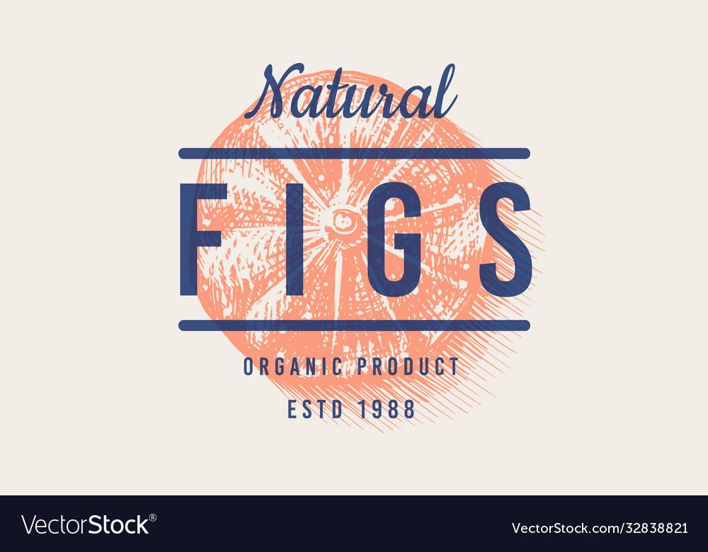 Fresh fig badge fruit foliage label or logo cut