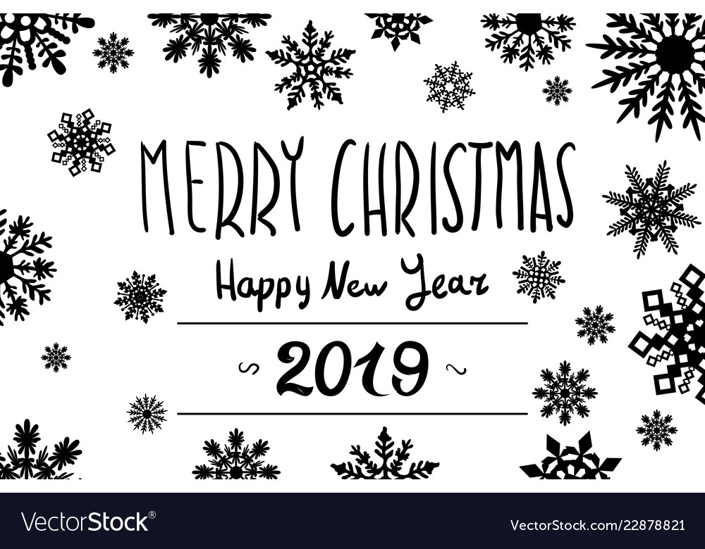 Happy new year set of 2019 black number text