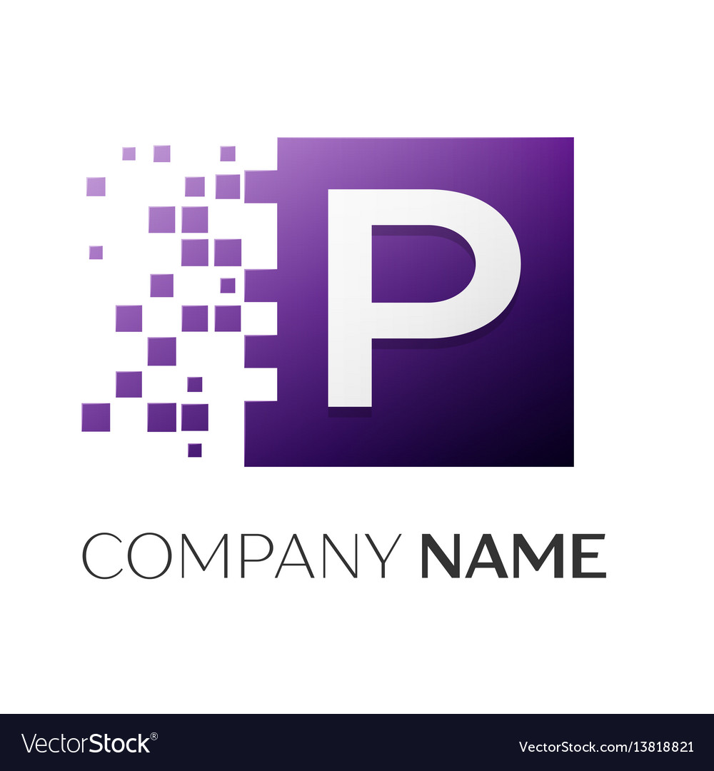 Letter p logo symbol in the colorful square with