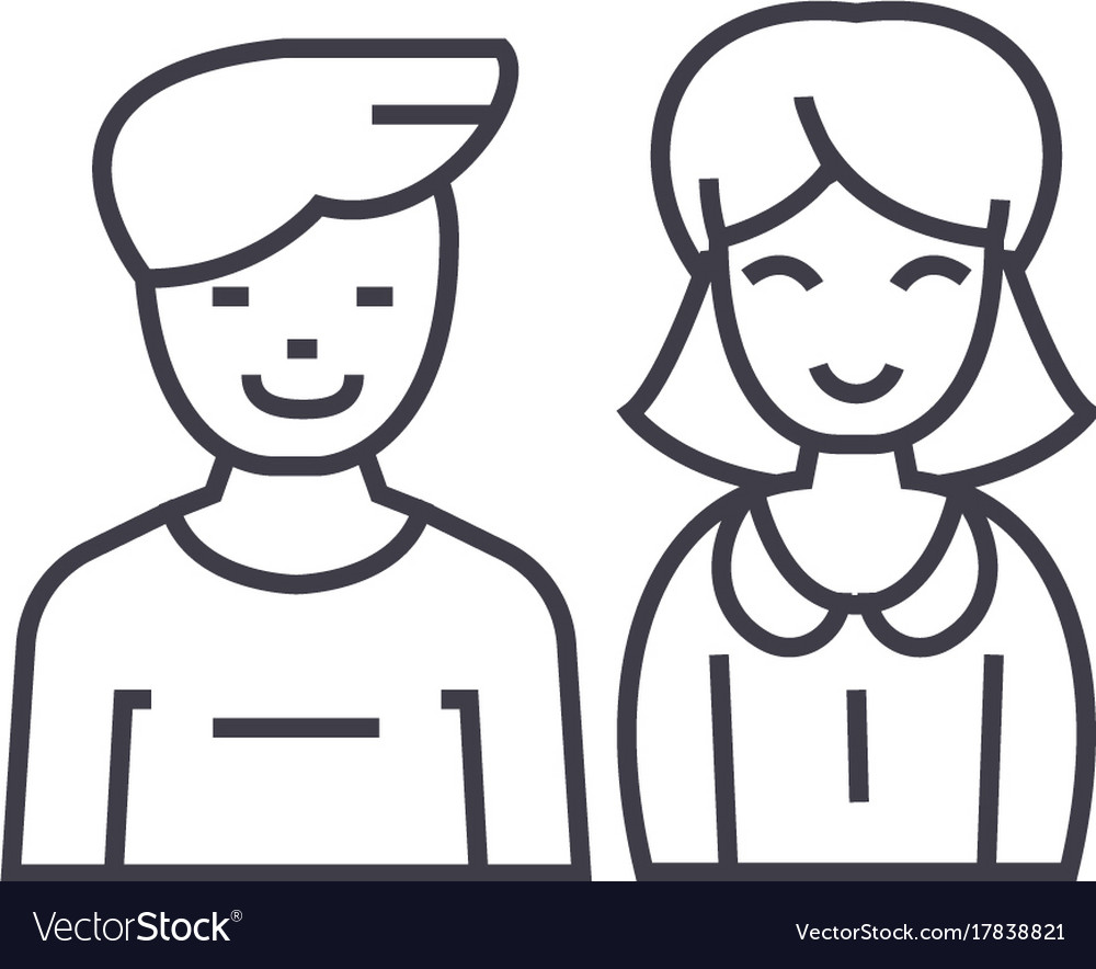 Man and woman line icon sign
