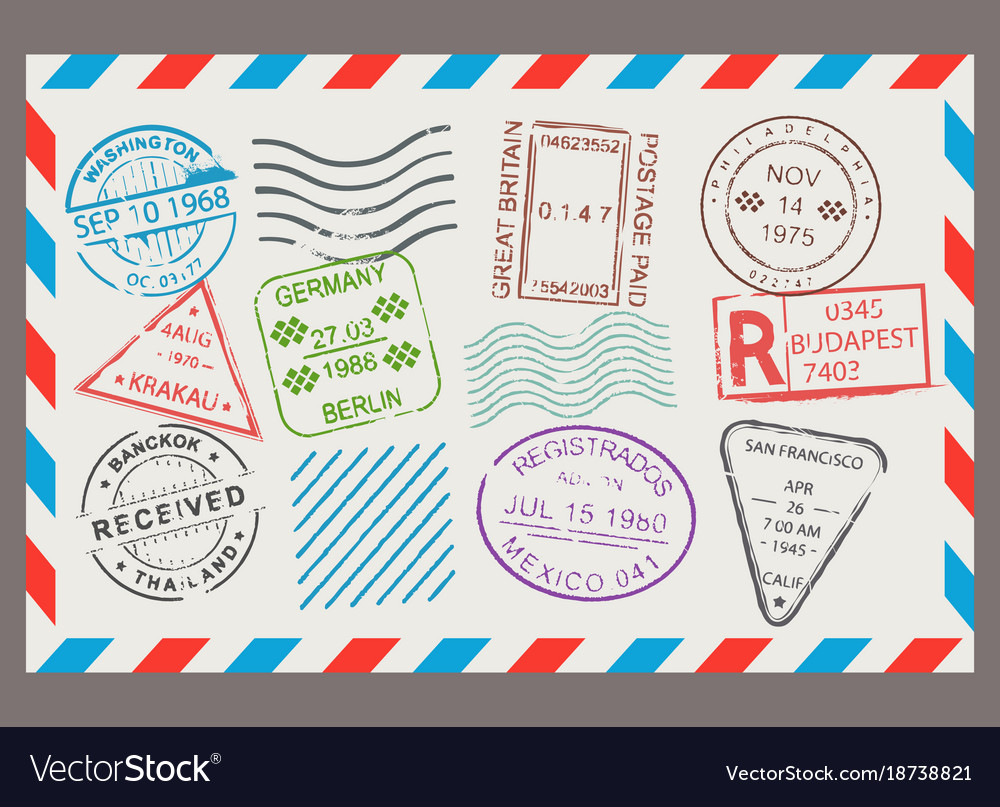 Post stamp flat cartoon set