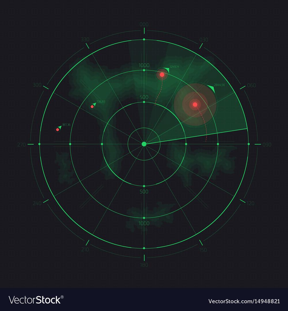 Radar Screen Futuristic Hud Radar Display Vector Image