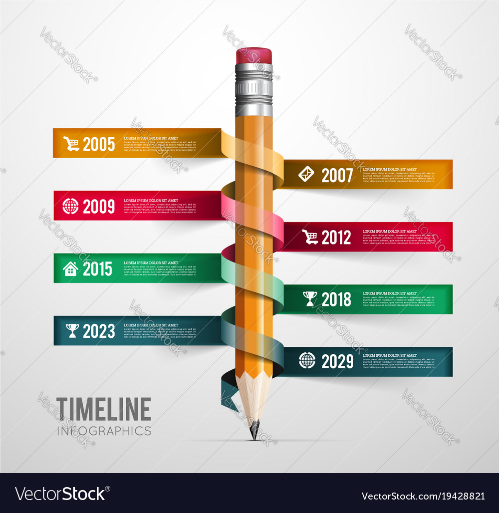 Timeline infographic with pencil ribbon vector image