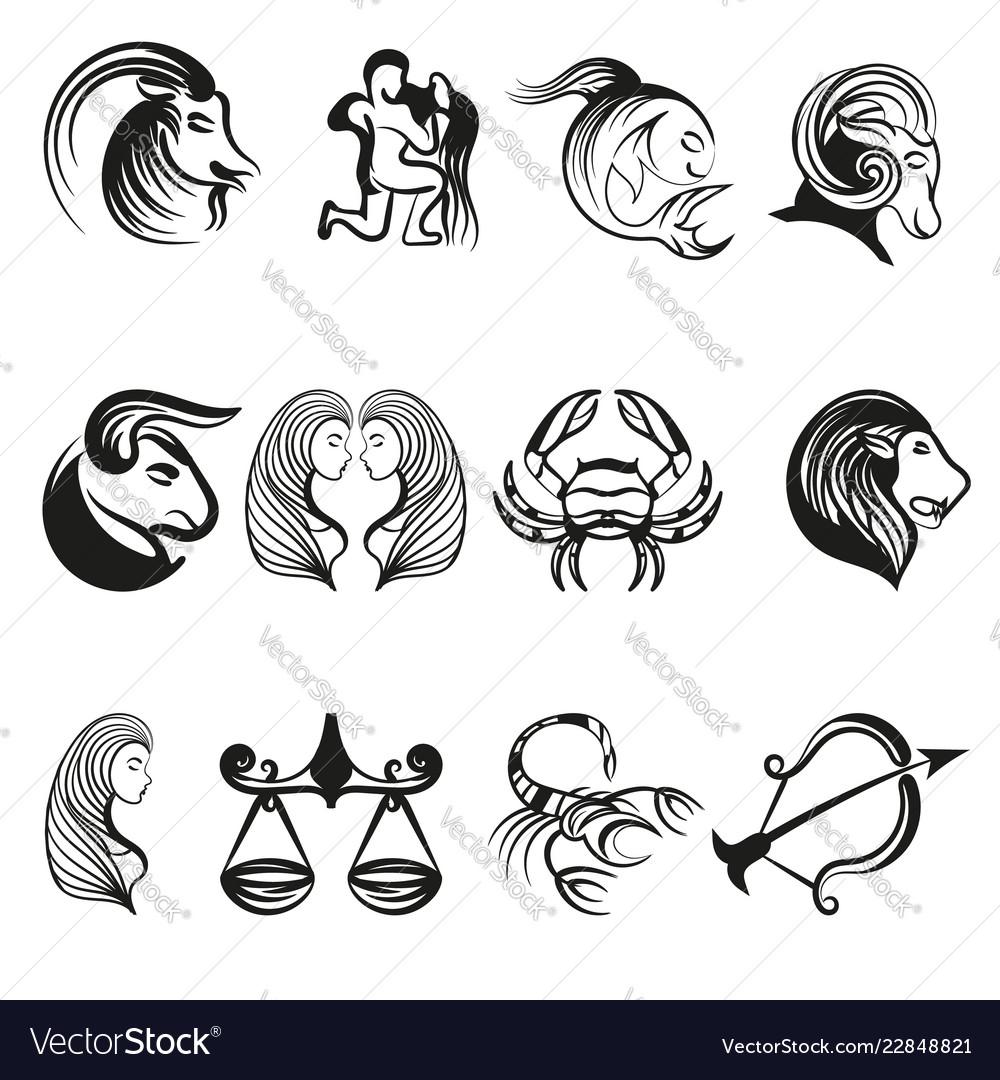 Zodiac signs in line art