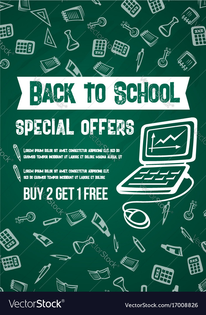 90a11bc4a7 Back to school sale offer chalkboard poster Vector Image