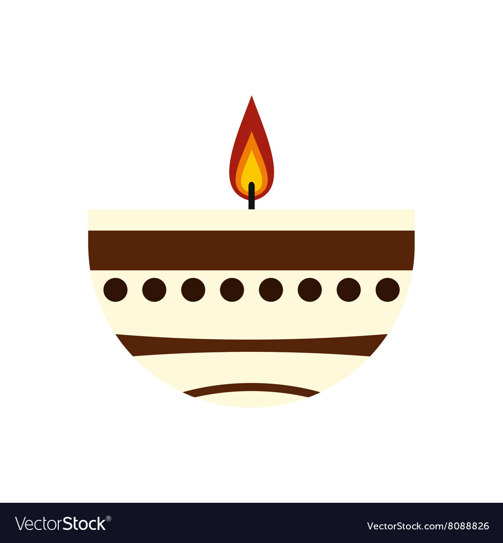 Burning candle in a clay candle holder icon
