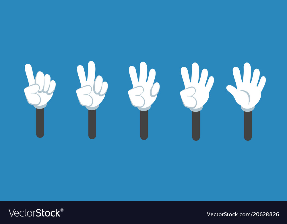 Cartoon counting hand with number gestures