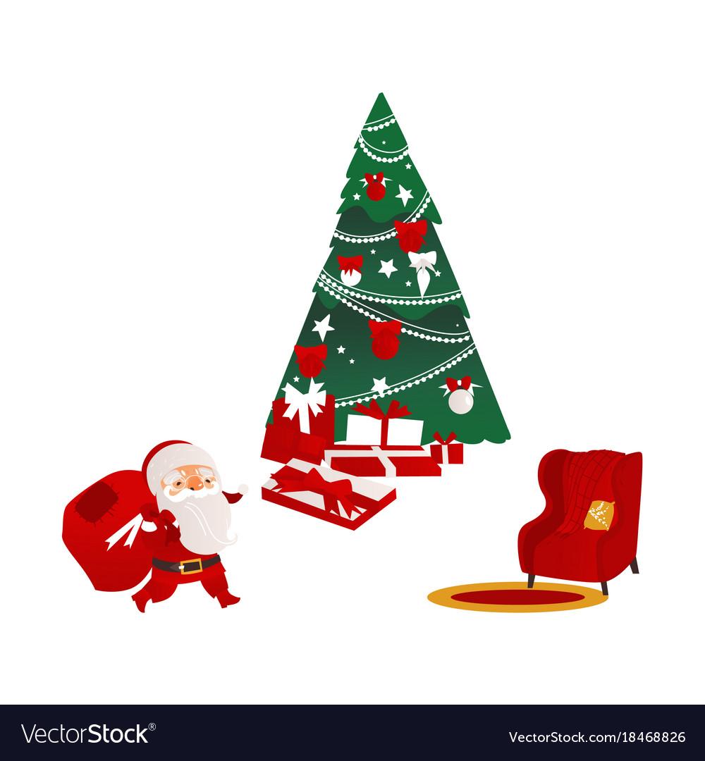 Christmas elements - santa fir tree and armchair