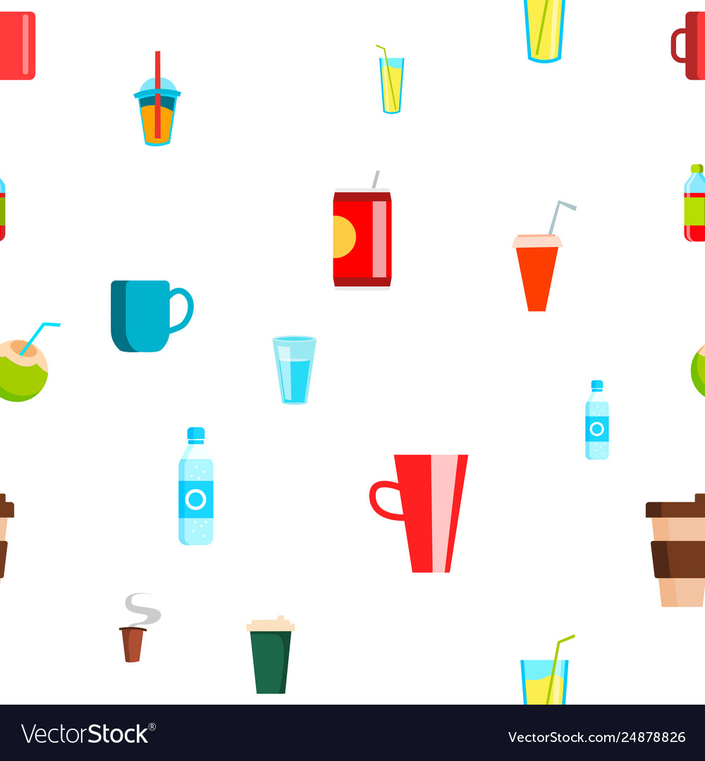 Cold hot drink seamless pattern tropical