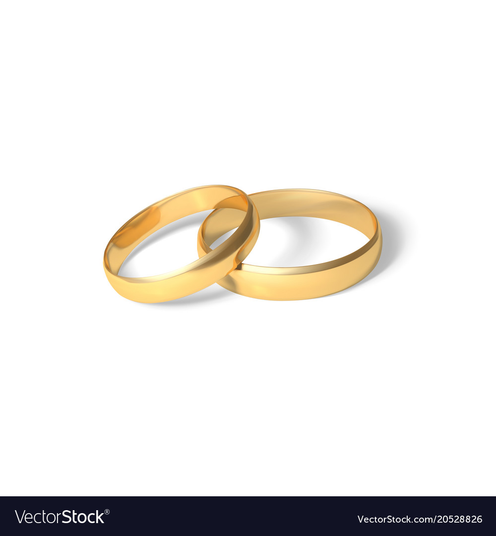 Golden rings gold wedding rings pair 3d realistic Vector Image