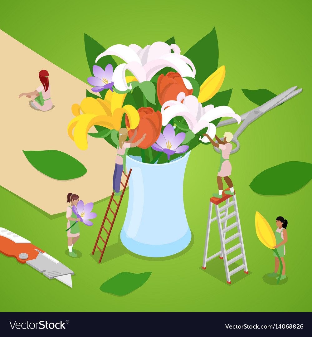 Isometric people making bouquet of flowers vector image izmirmasajfo
