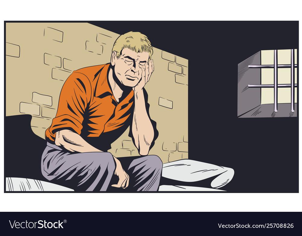 Male in jail man is behind prison lattice stock