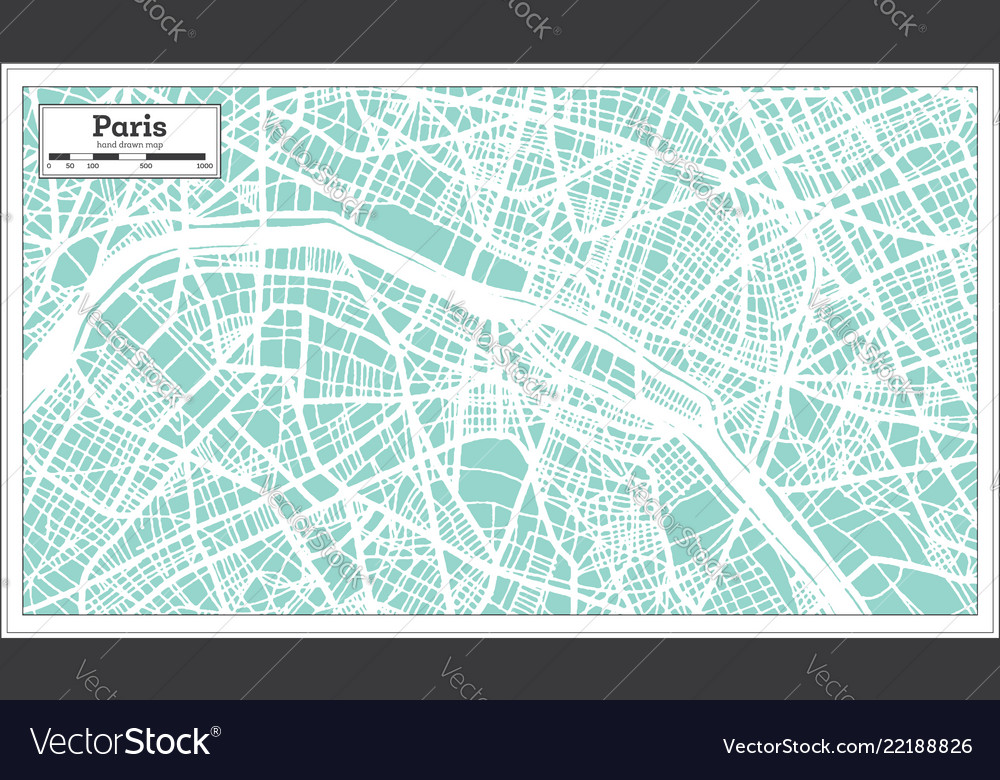 Paris france city map in retro style outline map Vector Image on