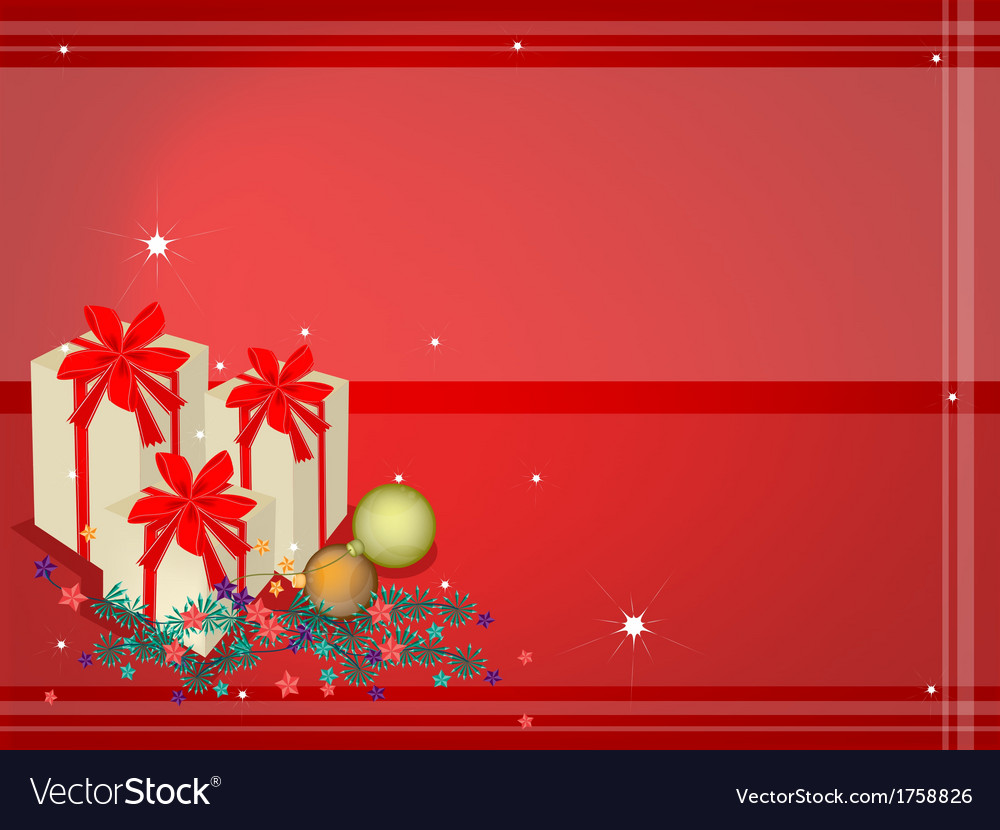 Red Background of Gift Boxes on Fir Twigs
