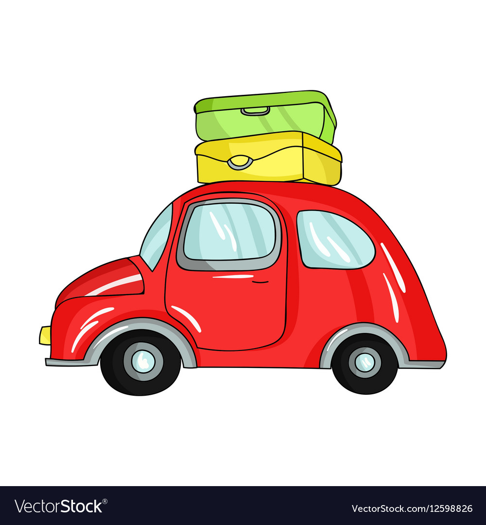 Red car with a luggage on the roof icon in cartoon