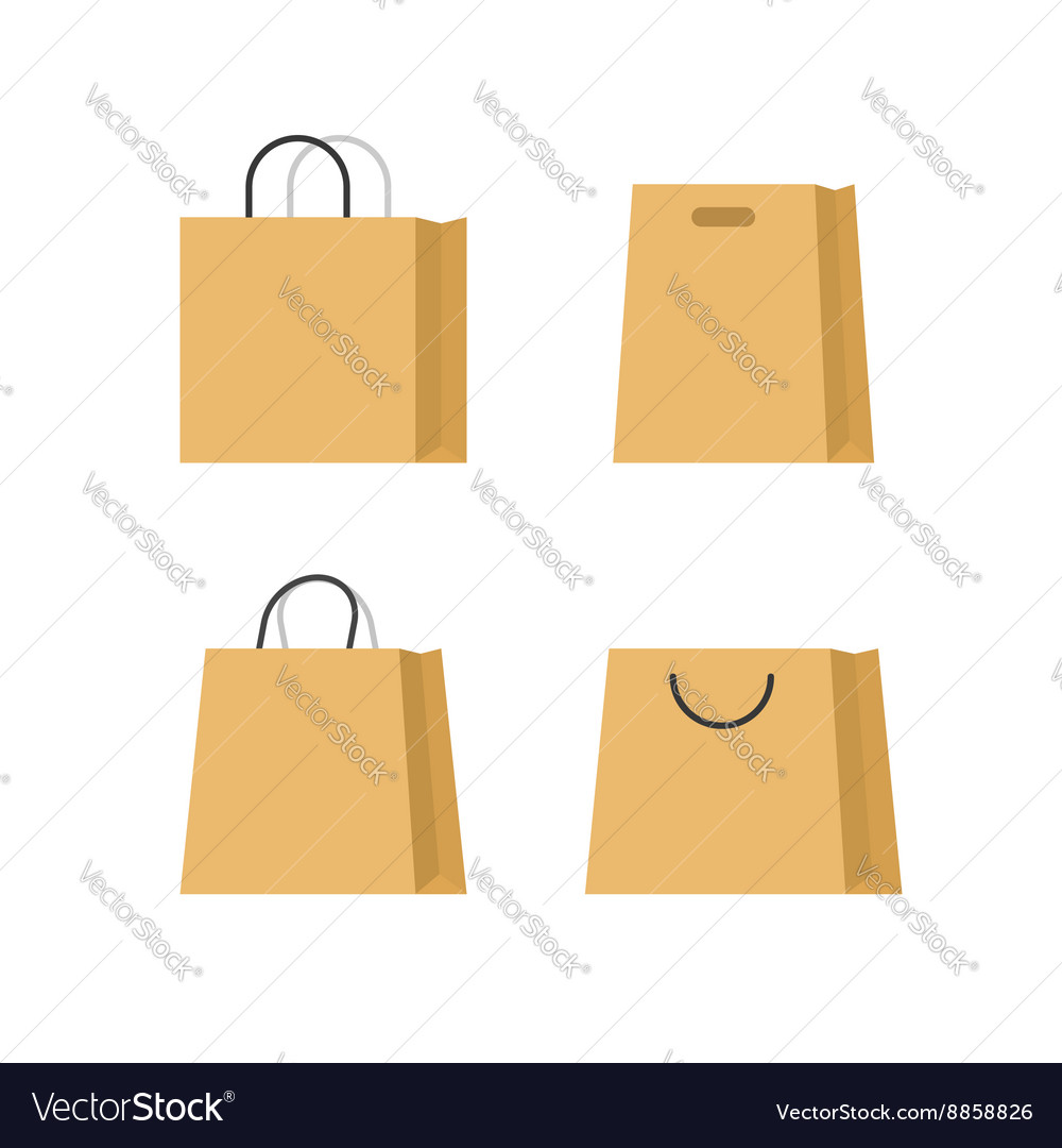 Shopping bags paper set isolated on white
