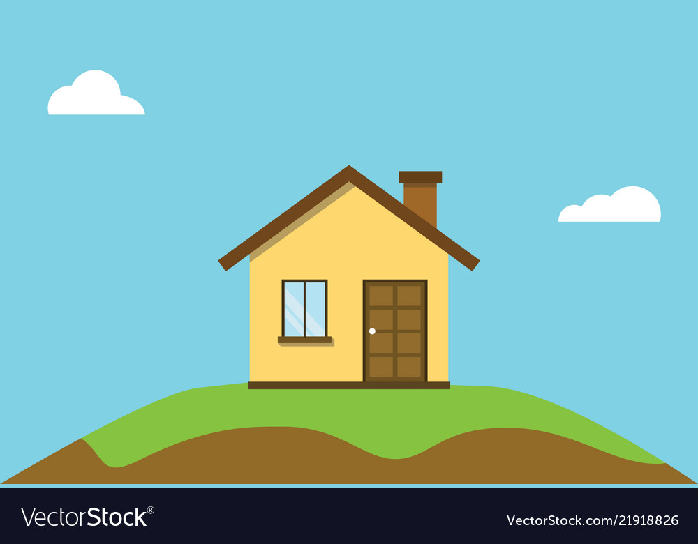 Small flat house on top off hill with blue sky
