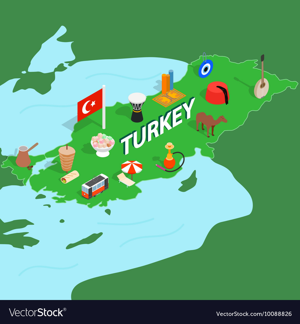Turkey map isometric 3d style Royalty Free Vector Image