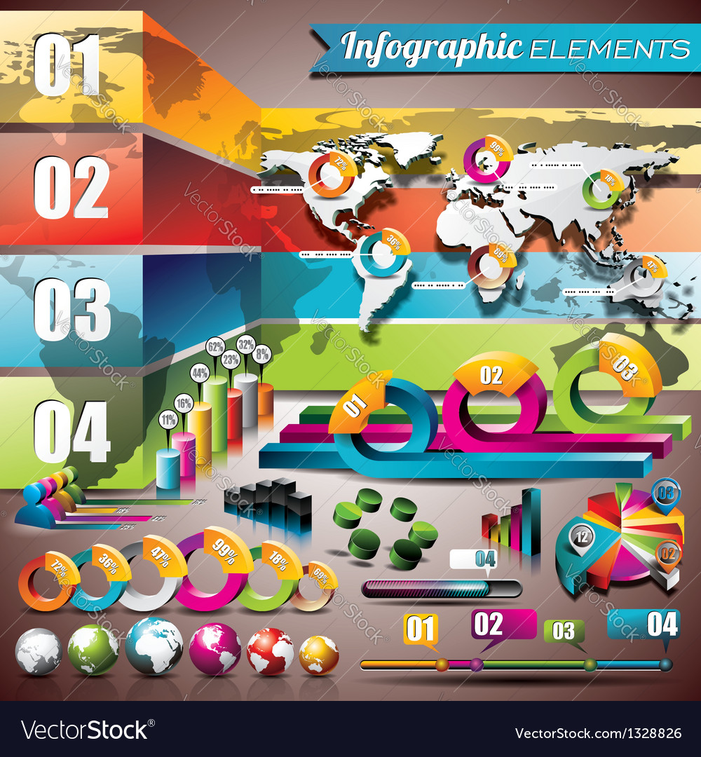 World map design set infographic elements