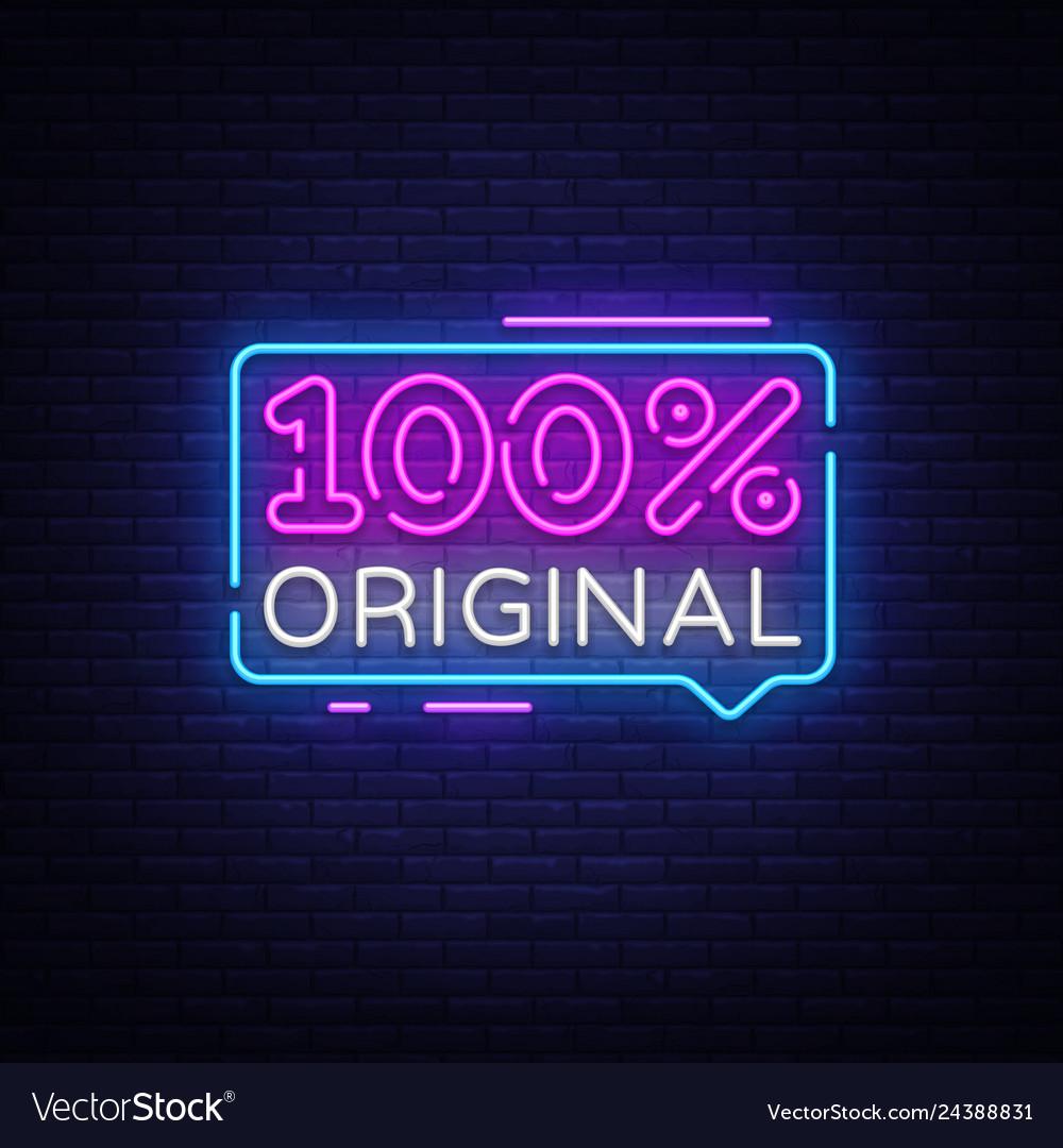 100 percent original neon text design