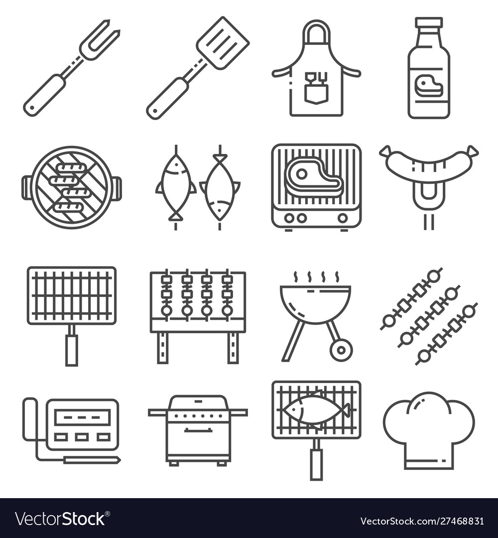Barbecue bbq line icons