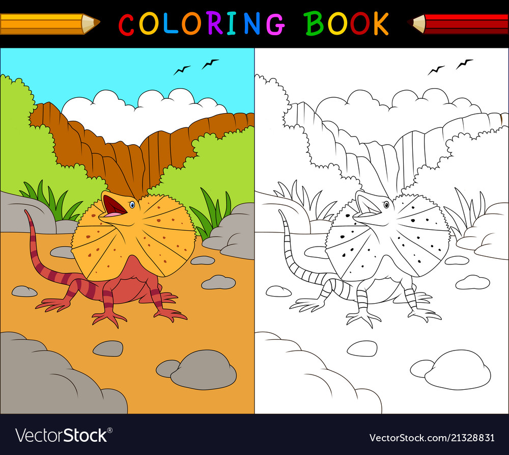 Cartoon frilled lizard coloring book australian a