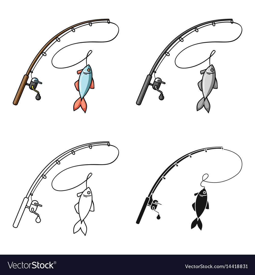 Fishing rod and fish icon in cartoon style vector image