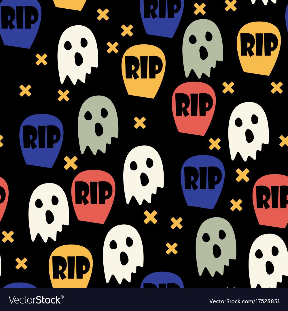 Ghost and gravestone halloween pattern