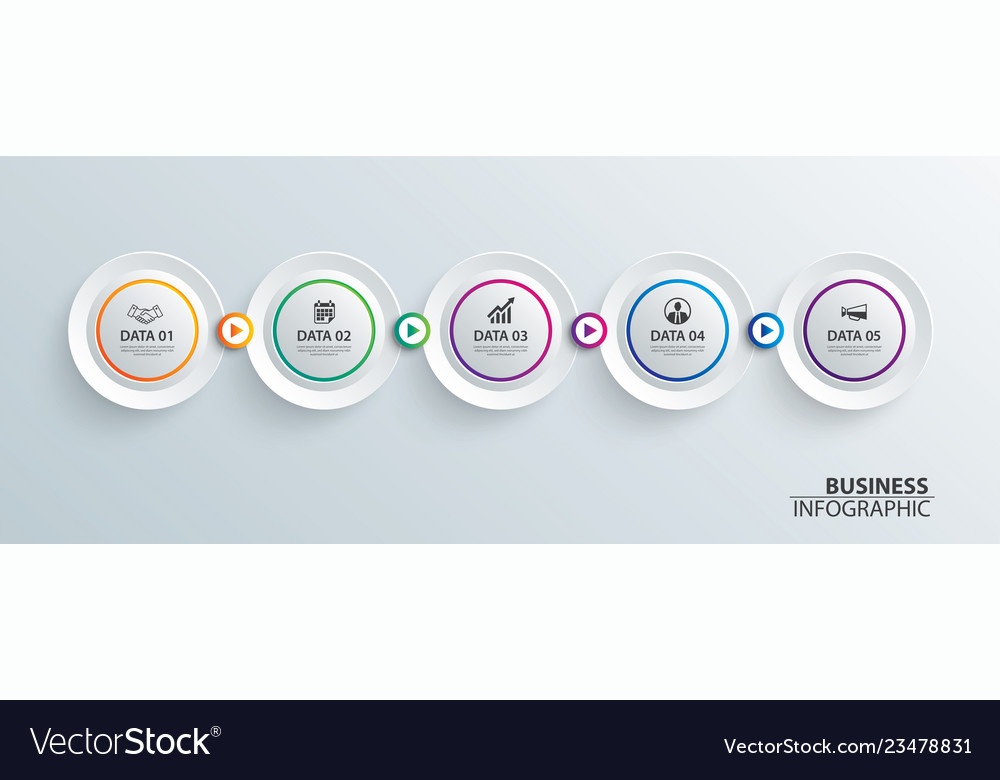 Infographics timeline circle paper with 5 data