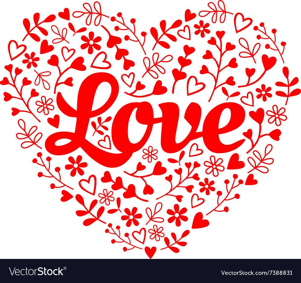 Love red flower heart