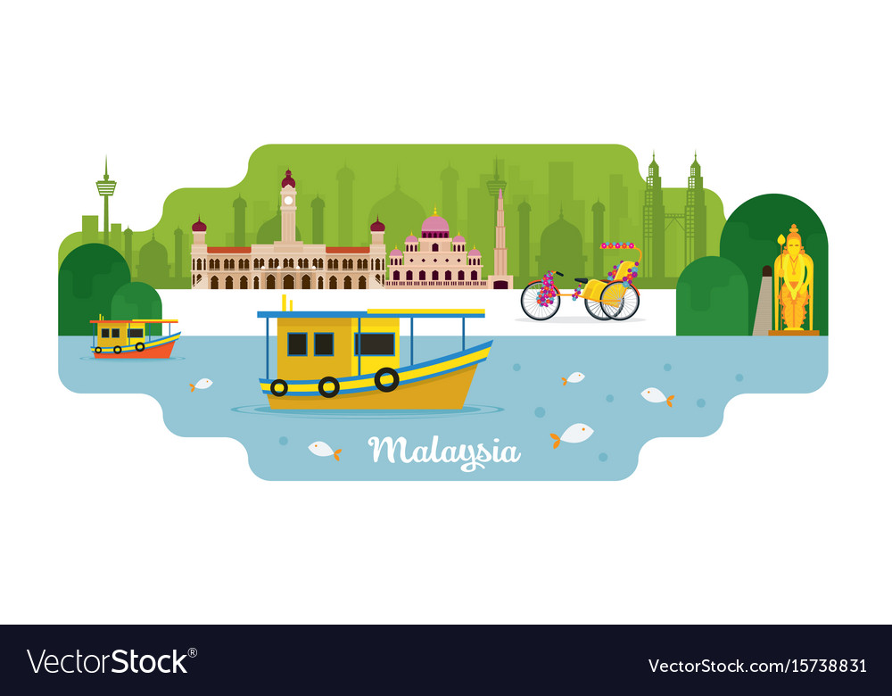 Malaysia travel and attraction vector image
