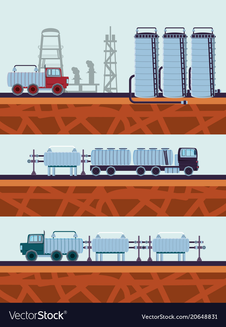 Oil industry with transport trucks vector image