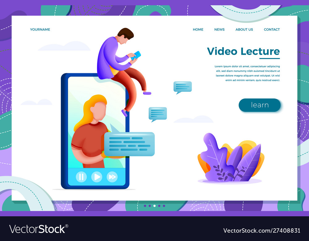 Online learning concept with cartoon girl