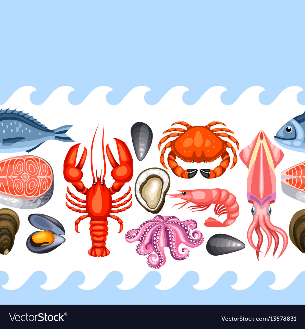 Seamless pattern with various seafood