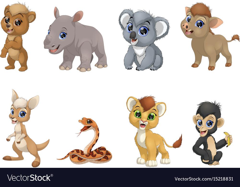 Set funny kids animals
