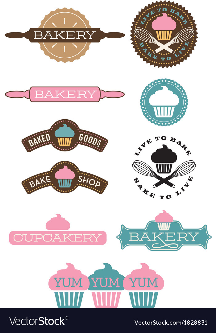 Set of 10 bakery and cupcake designs