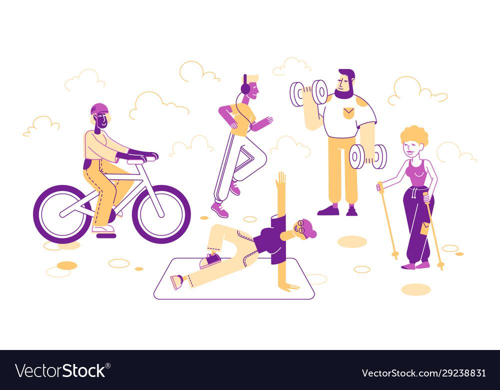 Sport activities set people doing sports