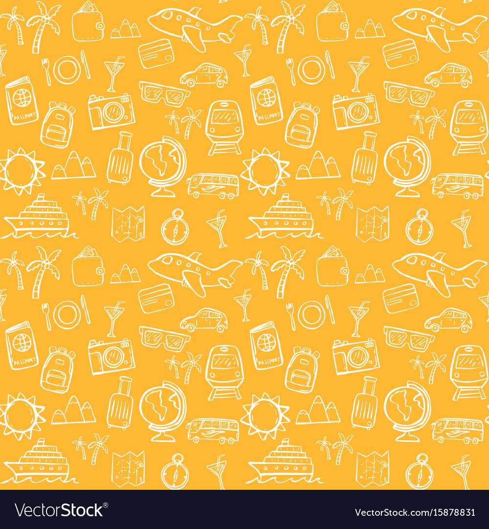 Travel seamless pattern background set