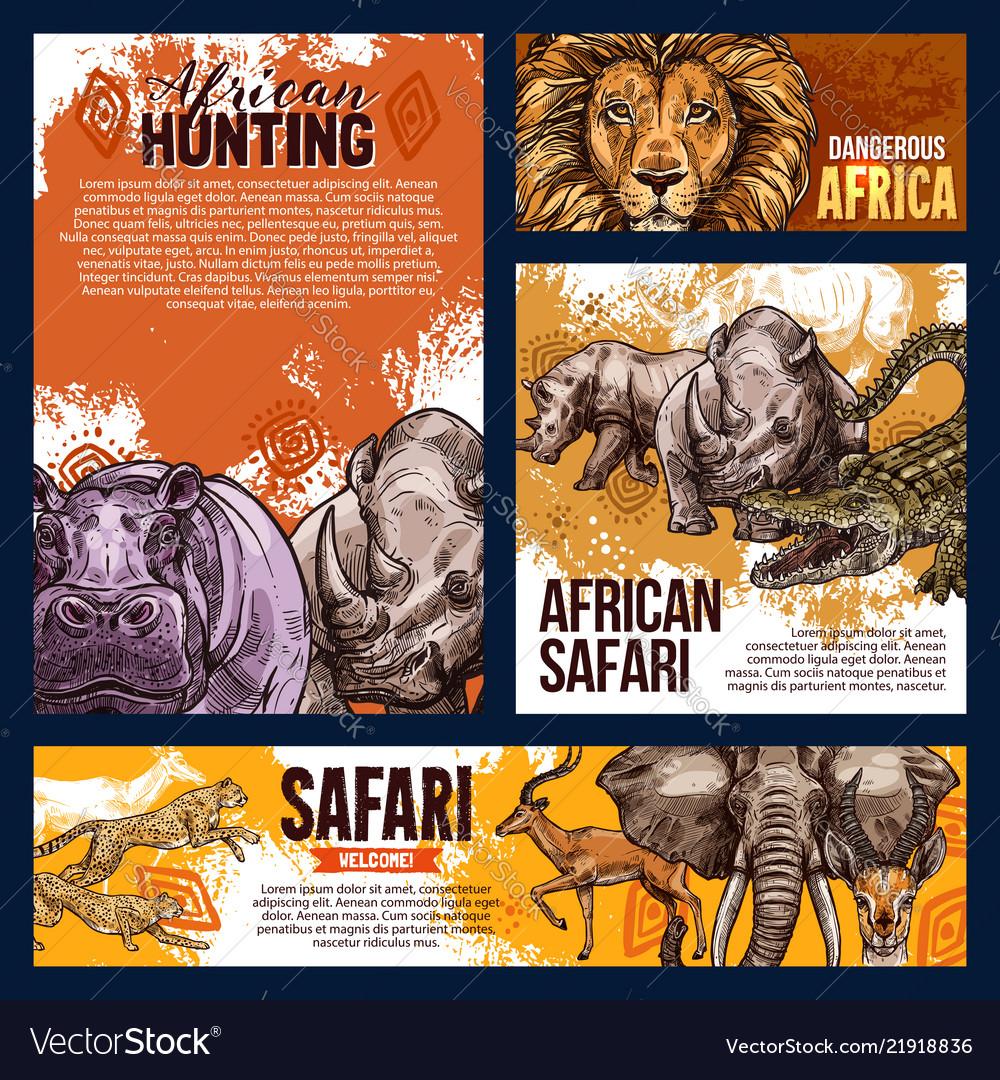 African safari animals sketch
