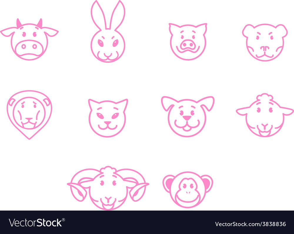 Animals set pink outline simple style