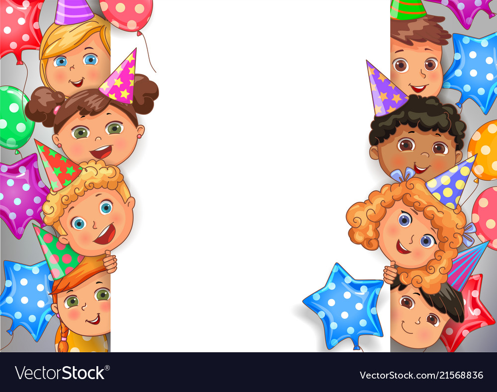 Birthday Design Banner White Blank With Faces Vector Image