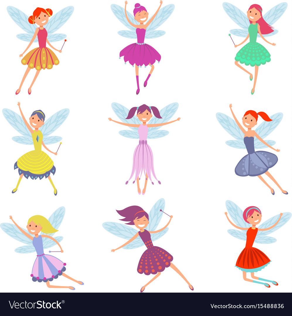 Cartoon flying fairies in colorful dresses