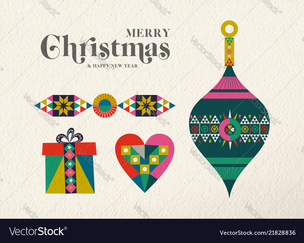 Christmas and new year retro holiday ornament card